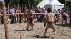 Gladiator fights in Ancient Rome - reconstruction festival in Moscow Stock Footage