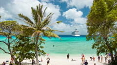 Exotic Beach in Lifou with Cruise Ship Background Stock Footage