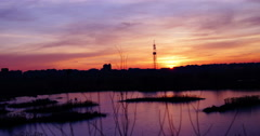 Twilight in the city.Sunset in Bucharest,Romania, in Vacaresti Delta,4k, static Stock Footage
