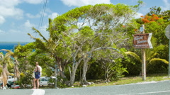 Lifou Island Road Leading to Chez Benoit Bonua Beach Stock Footage