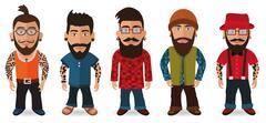 Bearded Men (Hipsters) Stock Illustration