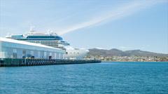 Generic Cruise Ship Docked in Hobart Tasmania Stock Footage