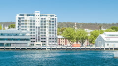Hobart Tasmania City Buildings Against the Harbour Waterfront Stock Footage