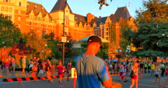 4K Empress Hotel, Canada Day, Summer Day with City Crowds Stock Footage