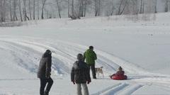 Walking in a winter park Stock Footage