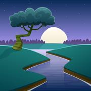 Night Cartoon Landscape Stock Illustration