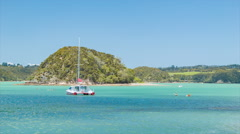 Bay of Islands NZ Water Recreation with Motuarahi Island Stock Footage
