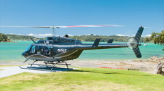 Bay of Islands Sightseeing Excursion Helicopter Taking-off from Paihia Stock Footage