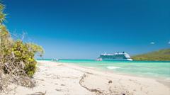Mystery Island Vanuatu Cruise Ship Passengers Tendering to Island - stock footage