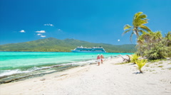 Mystery Island Tropical Beachfront with Cruise Ship and Guests Stock Footage