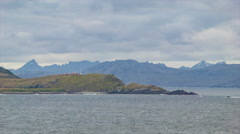 Cruising Around Cape Horn with Lighthouse Stock Footage