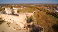 The aerial shot of the hill in Rakvere Stock Footage