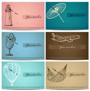 Vintage business cards set. Stock Illustration