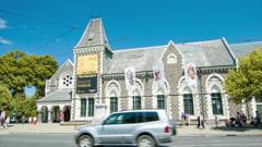 Christchurch NZ Canterbury Museum Exterior Stock Footage