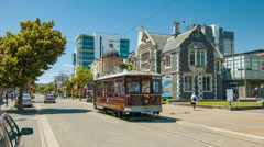 Christchurch NZ Worcester Street Scene with Approaching Tram Stock Footage