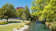 Christchurch NZ Avon River Flowing Through the City Center Stock Footage