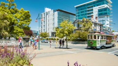 Christchurch NZ Tramways Driving Down Main City Center Street Scene - stock footage