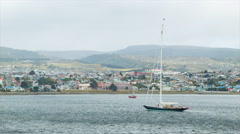 Sailboat Anchored in Punta Arenas Chile Stock Footage