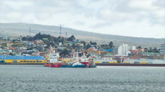 Boats in the Port of Punta Arenas Chile Stock Footage