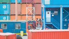 Seaport Dock Workers Welding Steel Structures Stock Footage