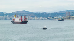 Cargo Freighter Ship Arriving in Valparaiso Chile - stock footage