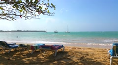 Sun chairs at a beach in las terrenas, samana, domenican republic Stock Footage