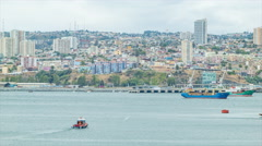 Valparaiso Chile City Buildings Viewed from the Pacific Ocean - stock footage