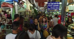 Crowded Chatuchak weekend Market Bangkok Thailand steady cam 4K 2 Stock Footage