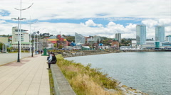 Puerto Montt Chile City Waterfront with Buildings and People Stock Footage