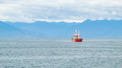Commercial Chilean Fishing Boat in Puerto Montt Chile Stock Footage