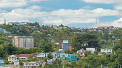 Puerto Montt Chile Hills with Housing and Hotels Surrounding City Stock Footage