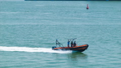 Cartagena Colombia Customs and Security Boat Speeding Through Harbor Stock Footage