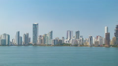 Cartagena Columbia Panning Across Downtown City Buildings Stock Footage