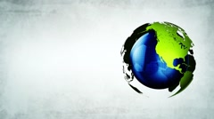 Earth globe turn around loop, spinning world concept of world green energy li - stock footage