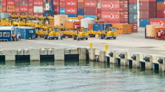 Shipping Containers and Trucks in the Port of Cartagena Colombia Stock Footage