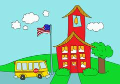 School house and School bus Piirros