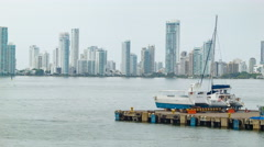 Cartagena Colombia Cityscape View From the Port Stock Footage