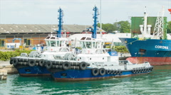 Cartagena Colombia Tug Boats Docked in the Commercial Port Stock Footage