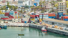 Arica Chile City Waterfront Scene Stock Footage