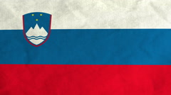 Slovene flag waving in the wind (full frame footage) Stock Footage