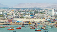Arica Chile Close-up Panning Over the Desert City Stock Footage