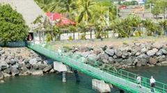 Puerto Quetzal Guatemala Cruise Ship Passengers Walking Ashore - stock footage