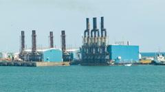 Industrial Oceanfront Powerplant in Puerto Quetzal Guatemala - stock footage