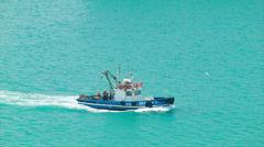 Harbour Boat Close-up on Turquoise Waters Stock Footage