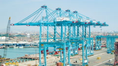 Industrial Shipping Cranes in Port of Lima Peru Stock Footage