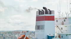 Ship Exhaust Stack with Dirty Smoke Close-up - stock footage