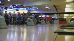 Family competitions in bowling club Quantum Stock Footage
