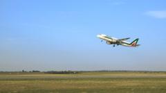 Alitalia airplane take off Stock Footage