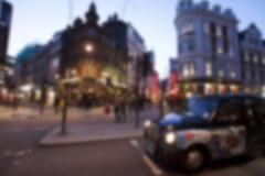 London, blurred city street, defocused background Stock Photos