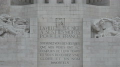 Tilt up of The Big Bullet War Memorial (Monument aux Morts) in Nice Stock Footage